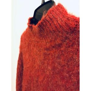 Sweaters - Fuzzy Retro Chunky Red Mock Neck Sweater Jumper